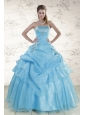 Pretty Aqua Blue 2015 Strapless Quinceanera Dresses with Beading