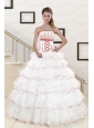 Pretty Ruffeld Layers 2015 Quinceanera Dresses with Appliques