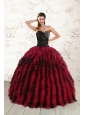 Pretty Sweetheart Ruffles and Beaded Quinceanera Dresses in Red and Black