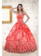 2015 Exquisite Quinceanera Gowns with Ruching and Appliques