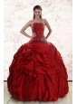 2015 Beaded Strapless Quinceanera Dresses with Pick Ups