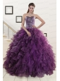 2015 New Style Purple Quinceanera Dresses with Beading and Ruffles