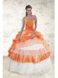 2015 Perfect Strapless Appliques and Beaded Quinceanera Dresses in Orange