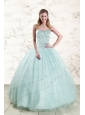 2015 Exclusive Apple Green Quinceanera Dresses with Reinstones