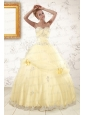 2015 Cute Beading Light Yellow Quinceanera Dresses