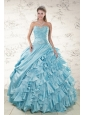 Beading Ruffles Aqua Blue Organza Quinceanera Dresses for 2015