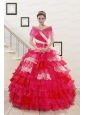 Puffy Beading Quinceanera Dresses with One Shoulder for 2015