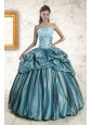 2015 Elegant Strapless Pick Ups Quinceanera Dresses in Teal