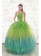 2015 New Style Beading and Ruffles Quinceanera Dresses in Multi Color