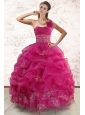 One Shoulder Appliques and Pick Ups Quinceanera Dresses in Fuchsia