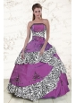 Unique Purple Quinceanera Dresses with Embroidery and Zebra