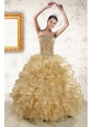 2015 Luxurious Ruffles and Beaded Quinceanera Dresses in  Champange