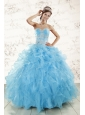 Aqua Blue Ball Gown Sweetheart Beading Sweet 16 Dresses