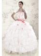 Most Popular White Quinceanera Dresses with Pink Appliques and Ruffles