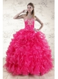 Pretty Hot Pink Sweet 15 Dresses with Appliques and Ruffles