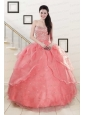 Watermelon Sweetheart Beading Appliques Ball Gown Sweet 16 Dresses