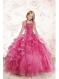 2015 Beautiful Pink Little Girl Pageant Dress with Beading and Ruffled Layers