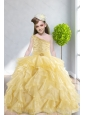 Ruffles and Beading 2015 Popular Little Girl Pageant Dress with One Shoulder