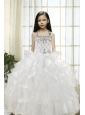 White Ball Gown Halter 2015 Little Girl Pageant Dress with Beading and Ruffles
