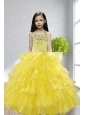 Yellow Ball Gown Halter Beading and Ruffles Little Girl Pageant Dress for 2015