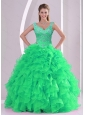 2015 Detachable Spring Green Quinceanera Dresses with Beading and Ruffles