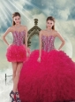 Detachable Beading and Ruffles Red Sweet 16 Dresses