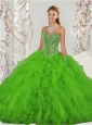 2015 Detachable Beading and Ruffles Spring Green Sweet 15 Dresses