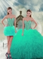 2015 Detachable Beading and Ruffles Sweet 16 Dresses in Apple Green