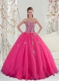2015 Detachable Sweetheart Hot Pink Sequins and Appliques Prom Dresses