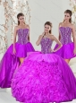 2015 Unique and Detachable Beading and Ruffles Fuchsia Sweet 16 Dresses