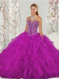 Unique and Detachable Beading and Ruffles Fuchsia Sweet 16 Dresses