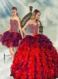 Unique and Detachable Beading and Ruffles Multi-color Quince Dresses for 2015