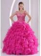 Unique and Detachable Hot Pink Quince Dresses with Beading and Ruffles for 2015