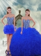 Unique and Detachable Royal Blue Quinceanera Dresses with Beading and Ruffles for 2015 Spring
