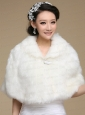 2015 Ivory Faux Fur Shawl With Button Front Closure
