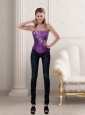 New Style Purple Strapless Corset with Beading and Ruffles