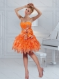 2015 Orange Strapless Prom Dresses with Ruffles and Bowknot