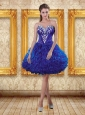 2015 Royal Blue Sweetheart Puffy Prom Dresses with Beading and Ruffles