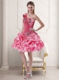 Beautiful One Shoulder Rose Pink 2015 Prom Dresses with Pick Ups and Ruffles