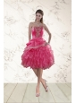 Coral Red Strapless Prom Dresses with Beading and Ruffles