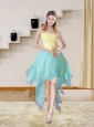 Multi Color Strapless High Low 2015 Elegant Prom Gown with Bowknot