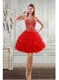 New Style Sweetheart Prom Dresses with Beading and Ruffles