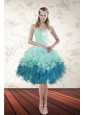 Pretty Multi Color Sweetheart Ruffled Prom Gown with Beading