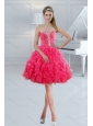 Sweetheart 2015 Cute Prom Gown with Ruffles and Beading