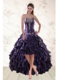 2015 Exclusive Purple High Low Prom Dresses for Spring