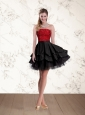 2015 New Style Strapless Beaded Prom Dresses in Red and Black