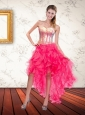 Beautiful Hot Pink Sweetheart Sequins High Low Prom Dresses with Beading