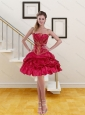 Cheap Red Princess Strapless Beading Prom Gown for 2015
