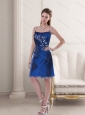 Cheap Spaghetti Straps Embroidery and Ruching Prom Dress in Royal Blue