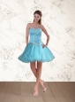 Cute Baby Blue Sweetheart Prom Dresses with Ruffles and Beading